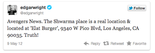 Avengers News. The Shwarma place is a real location & located at 'Elat Burger', 9340 W Pico Blvd, Los Angeles, CA 90035. Truth!